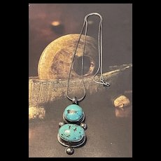 Exquisite Vintage Southwestern Sterling Turquoise Gourd Shaped Pendent Necklace