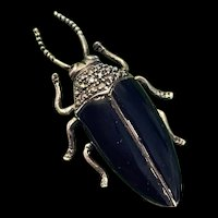 Incredible Large Vintage Enameled Insect Bug Sterling Brooch