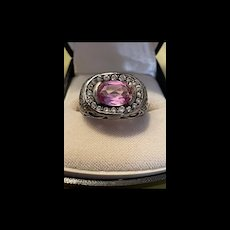 Exquisite Vintage Sterling Pink Sapphire Ring