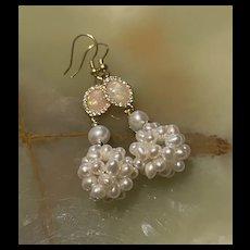 Stunning Vermeil Sterling Silver Pearl Cluster Dangling Earrings