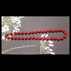 Vintage Chinese Export Carved Cinnabar Bead Necklace