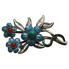 Chinese 1960s enamel, turquoise and coral flower Brooch With Silver Backing