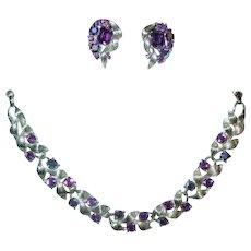 Beautiful Purple Aurora Borealis Lisner Demi Parure Lisner Necklace & Earrings
