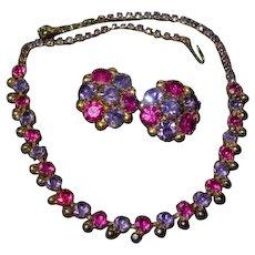 Gorgeous fuchsia Purple Weiss demi Parure Weiss Necklace & Earrings