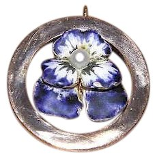 Antique Art Nouveau 14K Gold Enamel Pearl Pansy Pendant - Red Tag Sale Item
