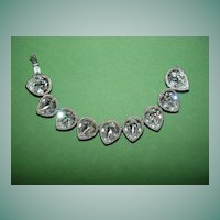 Dramatic Rhinestone Bracelet with Pear-shaped Stones