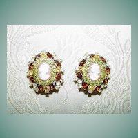 Rhinestone and Cameo Earrings
