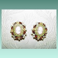 Rhinestone and Cameo Earrings