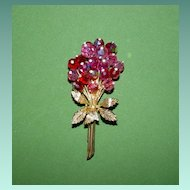 Pink Crystal Floral Spray Pin