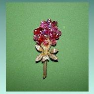 Pink Crystal Floral Spray Pin