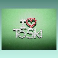 """I Love to Ski"" Rhinestone Pin"