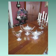 Three Piece Tea Set with Ornate Monogram