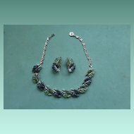 Lisner Green Leaf Necklace and Earrings