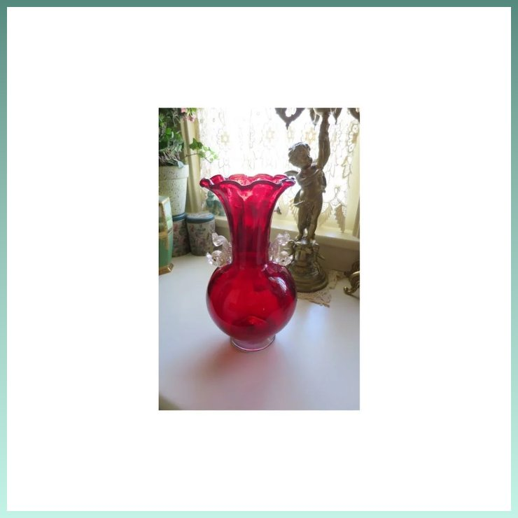Large Ruby Red Venetian Vase With Dolphins Gingerbread Farm