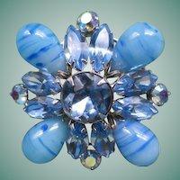Blue Regency Art Glass Brooch