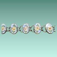Sweet Sterling Floral Enamel Bracelet