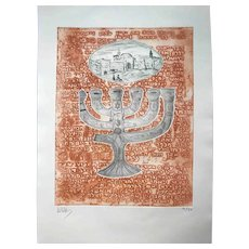 The Western Wall and a Menorah with Hebrew inscriptions. Color Etching by Zvi Milshtein
