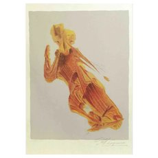 David Alfaro Siquieros Color Lithograph of a Male Figure. Ed. 67/70