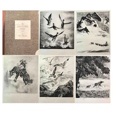 """The Sporting Trail"" A collection of (5) Drypoints by Reinhold H. Palenske"