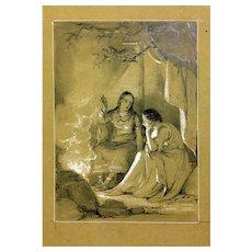 Daniel Maclise, illustration of the legend Evangeline, 19th century Drawing