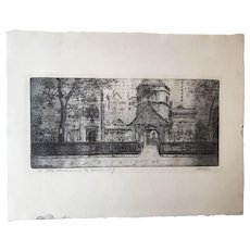 "Leon Dolice Etching, ""The Little Church Around the Corner N.Y."""