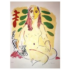 "Wayne Ensrud Lithograph, ""Lady with Cat"" (Ed.12/100)"