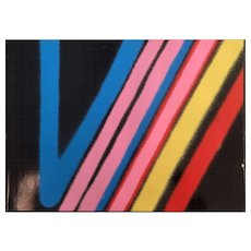 "Stephen Antonakos Silkscreen, ""Yellow Line"""