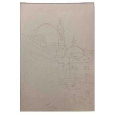 """Ben Silbert Drawing, """"Firenze at St. Lorenzo"""" 1925"""