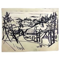 """Jean Liberté India Ink Drawing, """"The Village"""""""