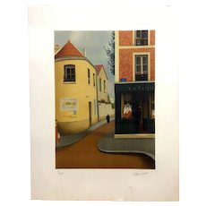 Rene Rimbert Color Lithograph of a French street scene. Ed. 9/200
