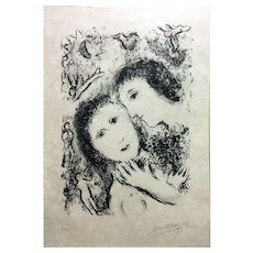 "Marc Chagall Original Lithograph, ""Jacob and Rachel"" 1979"