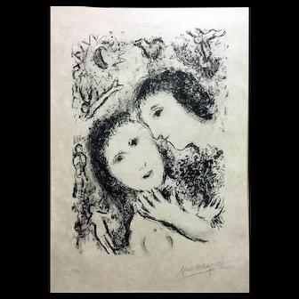 "Marc Chagall Original Lithograph, ""Jacob and Rachel"" 1979"