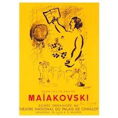 Marc Chagall Original Vintage Poster: Pour Les 70 ans de Maiakovski
