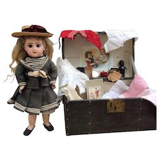 """Lovely Cabinet size Tete Jumeau Bebe with her Trunk. A/O. size 5 . 14"""""""