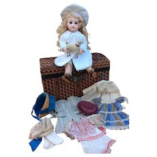 """ADORABLE, Tiny SIZE 2, 10.5"""" C/M Bebe Jumeau with her Trousseau and Trunk."""