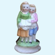 Sweet Miniature Antique French Figurine of Children.