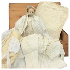 Lovely English Poured Wax Doll. All Original with Trousseau and Provenance. Circa 1854.
