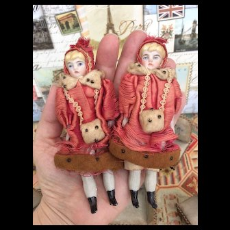 Charming PAIR of Antique German Bisque Shoulder-heads. All Original TWIN Dolls for Room Setting or Dolls House.
