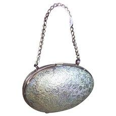 Antique Brass Egg Shaped Purse / Bag for large Fashion Poupée or Bebe Jumeau, Bru, Steiner.