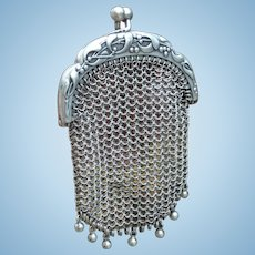 French Antique Silver Mesh Purse. For large Fashion Poupee or Bebe Bru, Jumeau, Steiner.