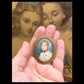 """Tiny Miniature Antique Portrait for Fashion Doll Display or Mignonette Room Setting or Dolls House. 1.75"""""""