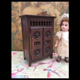 Miniature Breton Armoire. For Jumeau Size 1 Bebe or small French Fashion Dolls.