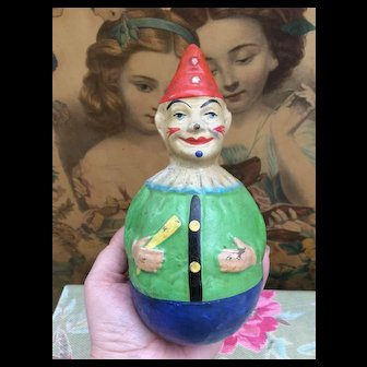 Lovely Small Size Antique Clown Wobble Toy.