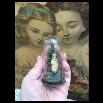 """Miniature Antique Glass Dome Diorama of Little Girl. For Fashion Doll and Bebe Display, Mignonette Room Setting or large Dolls House. 3"""""""