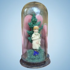 Miniature Antique Glass Dome Diorama of Little Girl. For Fashion Doll and Bebe Display, Mignonette Room Setting or large Dolls House. 3""