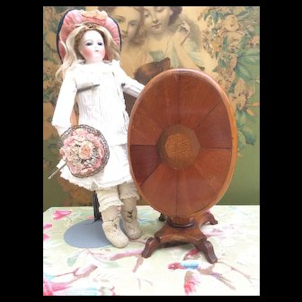 Rare and Fabulous Antique Miniature Mahogany Tilt top Table for Fashion Doll Display.