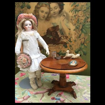 Rare and Fabulous Antique Miniature Mahogany Tilt top Table for Fashion Doll Display., Huret, Bru, FG, Jumeau.