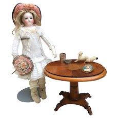 Rare and Fabulous Antique Miniature Mahogany Tilt top Table for Fashion Doll Display., Huret, Bru, FG, Jumeau.