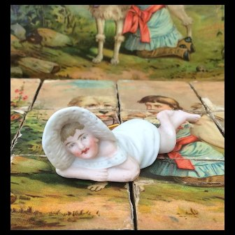 """Miniature All Bisque Piano Baby / Child for Dolls House or Room Setting. 3"""""""