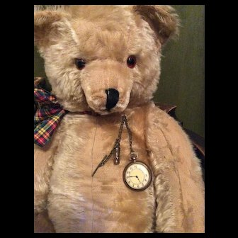 Original Antique Toy Fob Watch, Whistle and Fob chain. For  Bear or large Doll Display.